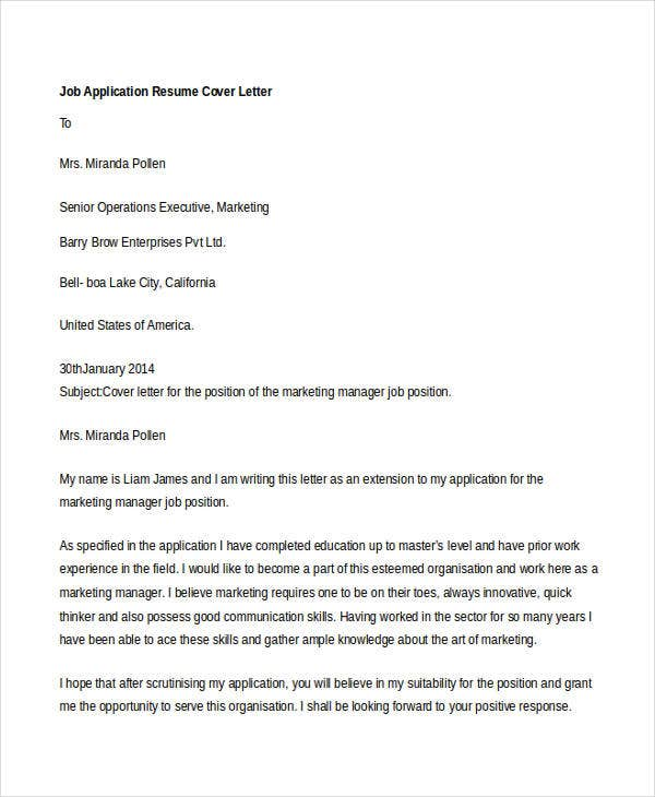 writing a letter applying for a job example
