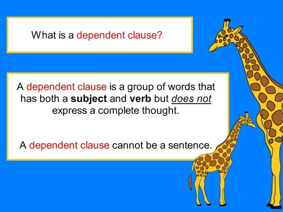 which example correctly uses a subordinate clause