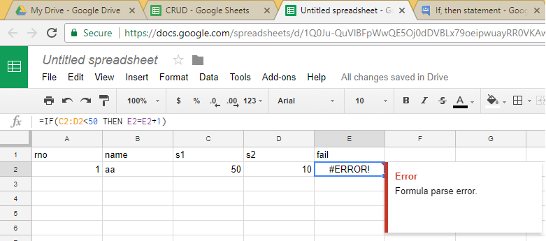 google sheets if statement example