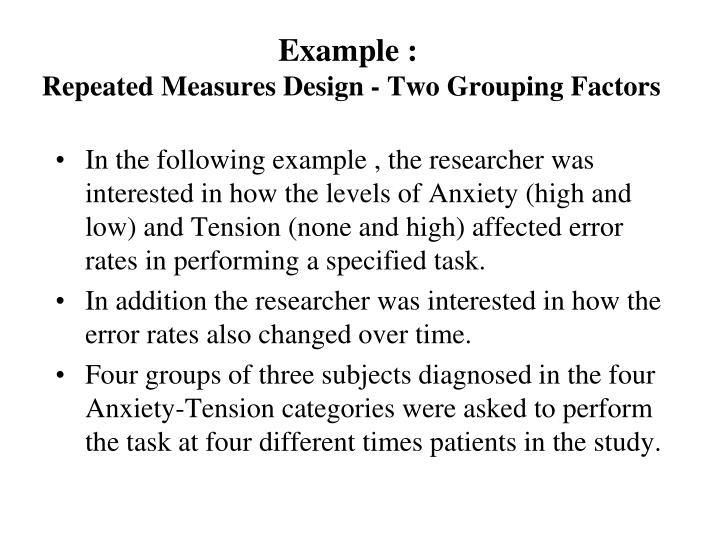 repeated measures design example psychology