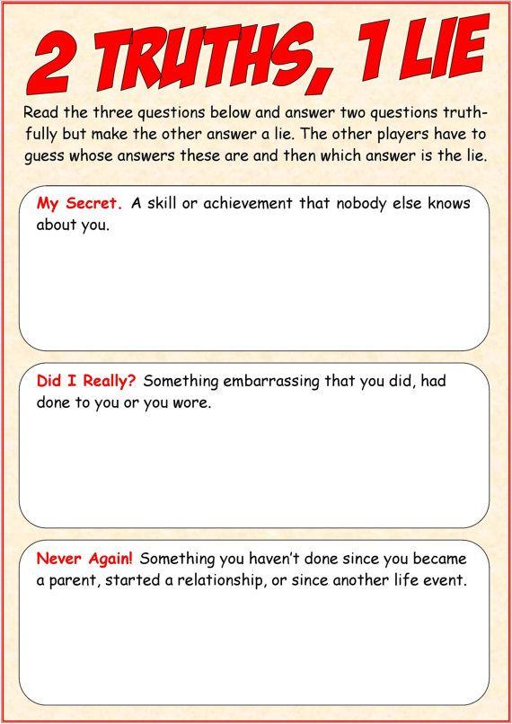 2 truths and a lie game example