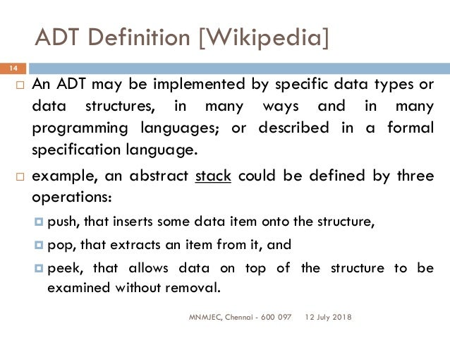 definition of data structure with example