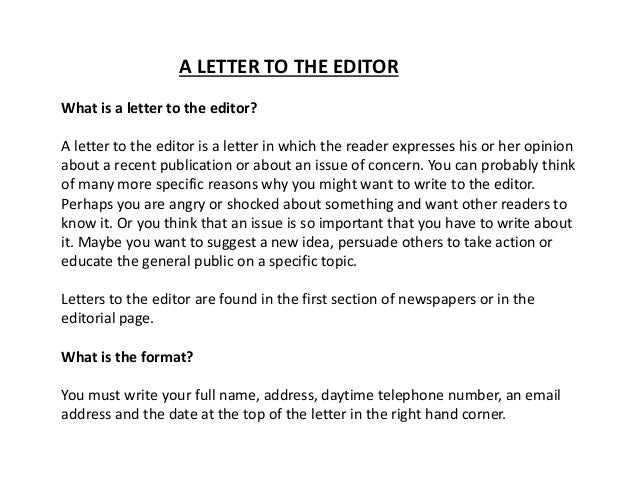 letter to the editor example for students of class 9